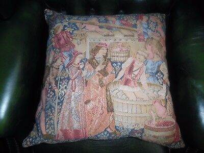 Liberty & Co Medieval Tapestry Cushion - The Wine Makers - Great Condition