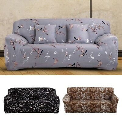 1/2/3 Flower Sofa Couch Slipcover Stretch Fit Cover Elastic Fabric Settee Protec