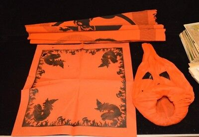 Vintage Lot of 3 Halloween Decorations: Napkin, Table Cloth & Pumpkin Crepe Pape