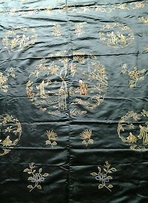 Antique  Chinese Robe ?forbidden stitch silk fabric panel huge signed