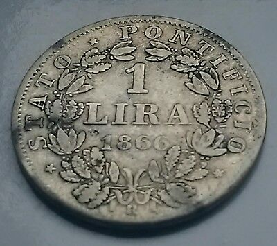 Old antique Vatican Papal 1866 silver 1 Lira coin 835 parts silver
