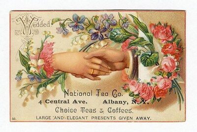 Albany New York NATIONAL TEA Coffee Trade Card 1880's Wedding Hands Flowers