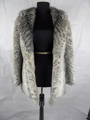 Vintage 70's Faux Fur Animal Print Winter Coat, Size 12-14