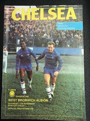Chelsea Football Programme. Chelsea V West Bromwich Albion.