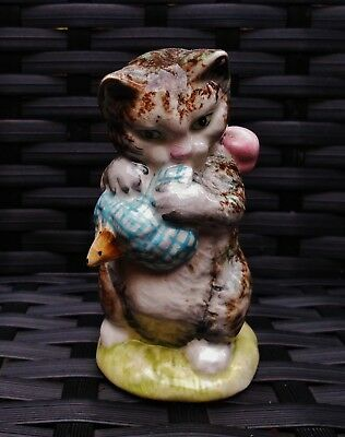 "Beswick Beatrix Potter ""MISS MOPPET"" BP2 GOLD OVAL PART MOTTLED PART STRIPED!"