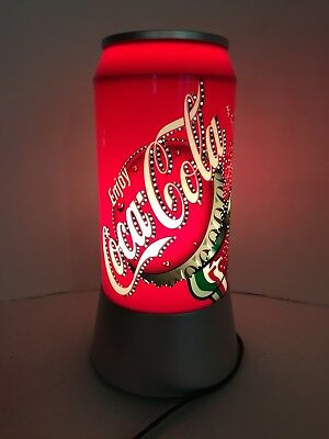 "Coca Cola  Large 12"" Pop Can Style Lamp, Rotating Light, so cool and sparkly !"