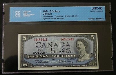 1954 $5 Canada Bank Note CCCS Certified UNC-65 Gem Uncirculated