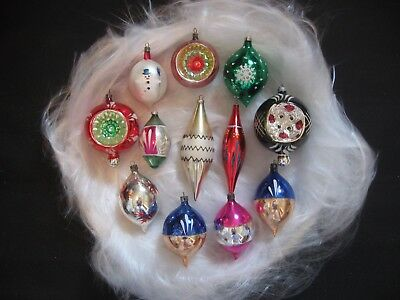 Lot of 12 Vintage Mercury Glass Christmas Ornaments Teardrops & Indents