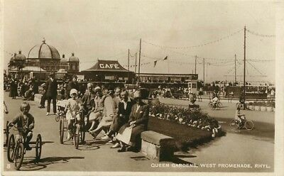 Flintshire Queen Gardens West Promenade Rhyl Animated Real Photo