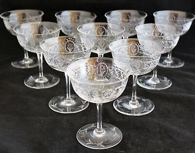 Set 10 Antique Beautiful Rock Cut Engraved Crystal Cocktail Glasses