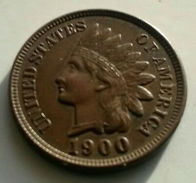Old antique 1900 USA coin Indian head bronze one cent designer James B Longacre