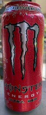 New Sealed Monster Energy Ultra Red Drink 16- Ounce Cans Zero Sugar