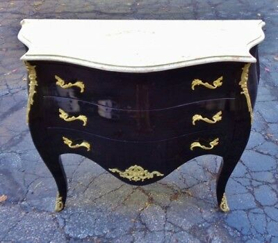 Exceptional Louis XV Style Bombe Marble Top Commode