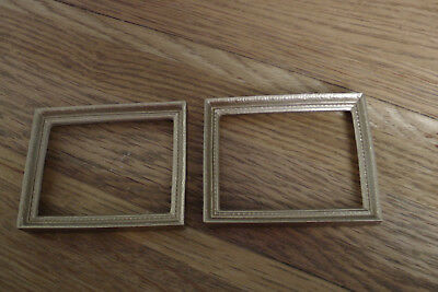 Dolls House 2 x Ceramic Empty Gold Picture / Painting / Photo Frames