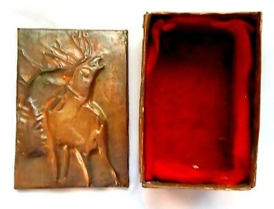 Vintage Hunting Tin ?cartridge Powder Bullets Cigarettes Embossed Copper Rifle