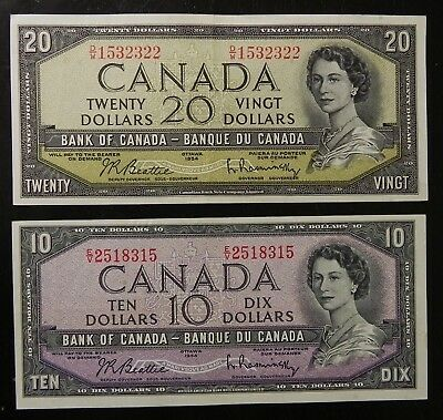 2 High Grade Bank of Canada 1954 $10-20 Notes