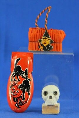 Vintage Halloween Party Favor Collection Candy Basket  Skull Clicker