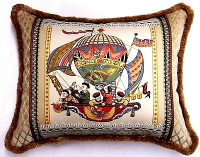 Chinese Hot Air Balloon Toile patch work designer accent Pillow