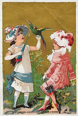 French Victorian Gold Foil Card ~ Girls, Parrot, Parasols & Sunbonnets