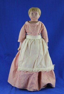 Antique Minerva Tin Shoulder Head Doll On Pink Cloth Body Antique Dress