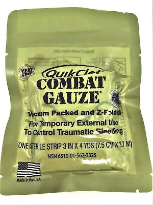 Quick Clot Combat Gauze EXP 11-2021, Army Issue IFAK Med Supplies, Z-Folded