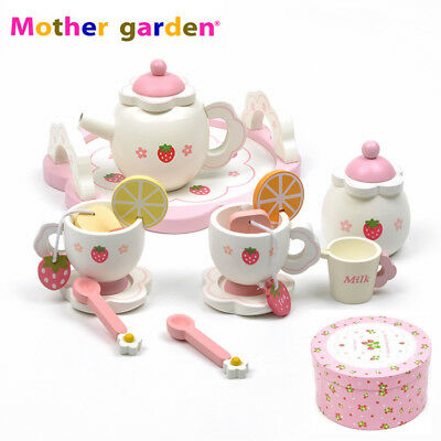 Kids Pretend Play Handmade Wooden Toy Tea Time Cooking Play Food Set