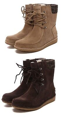 918497eb9fe8 NEW Lacoste Women Alyson Suede Winter Boots Lace Up Ankle Black Brown Boots