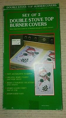 Brand New Christmas SNOWMAN Double Stove Top Burner Covers