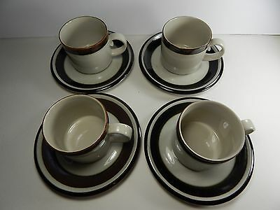 Arabia Finland Karelia Set of 4 Coffee Cups with Saucers. Vintage
