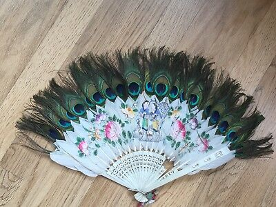 SUPERB!19th C ANTIQUE Chinese Hand Painted Watercolor Bovine Fan Peacock Feather