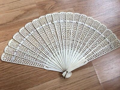 SUPERB!19th C ANTIQUE Chinese Canton Large Hand Carved Bovine Fan