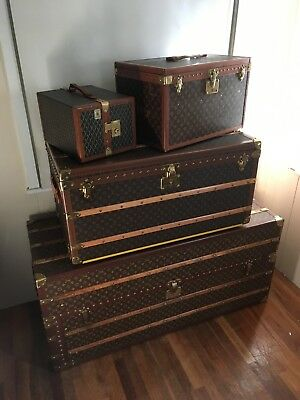 Lot of 4 LOUIS VUITTON Goyard Monogram Wardrobe Steamer Trunk chest purse bag LV