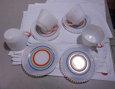 4 Macbeth Evans Monax Primary Color Bands Petalware Cup & Saucers SET B