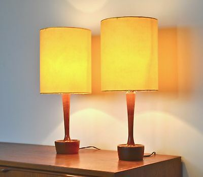 Vintage Retro Mid Century Danish ' Tjener' Table Lamp Teak & new shadeS PAIR