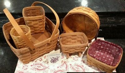 6 Vintage  LONGABERGER BASKETS EUC Lot with Liner Protectors and Accessories
