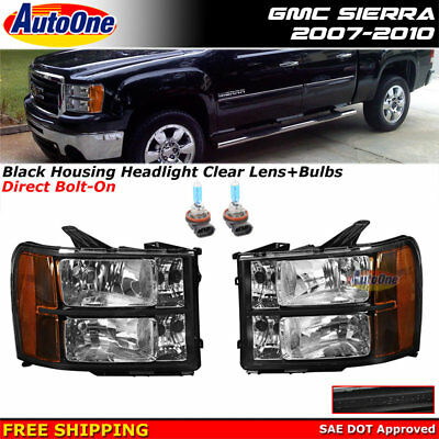 New Replacement Headlights Sierra 2007-2013 Black Housing Amber Reflector Clear