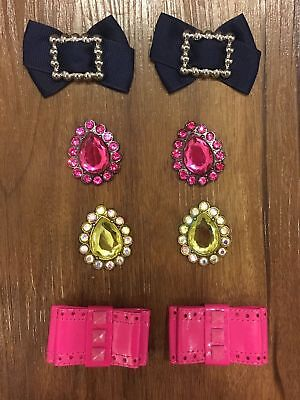 Set of 4 Lindsay Phillips SwitchFlops Snaps (Bows & Jewels, hot pink/navy/green)