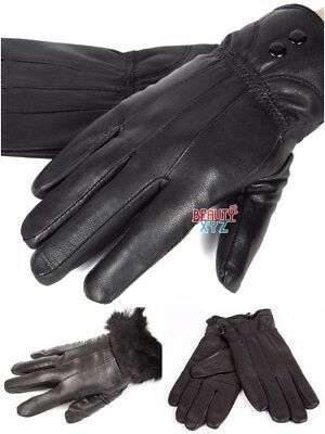 5632e66a0f020 Women's Black Winter Warm Genuine Leather Gloves Thermal Insulation  Lambskin NEW