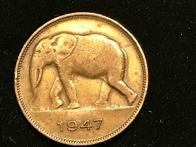 T2: World Coin Belgian Congo 1947 5 Francs