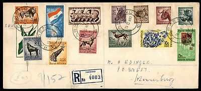 Mayfairstamps 241-253 Animals Set Complete 1961  Registered FDC Parkend to Johan