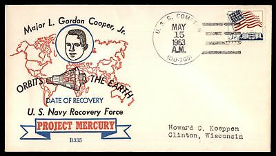 Mayfairstamps Project Mercury Beck 1963 Cover USS compton Gordon Cooper Recovery