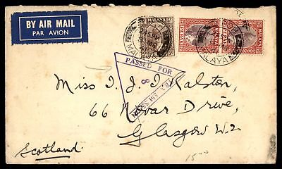 Mayfairstamps Malaya Ipoy 1941 Censored Airmail cover to Scotland Glasgow Passed
