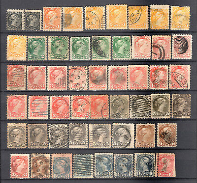 Canada 1870 Qv Selection Of Used Stamps Pmk Interest