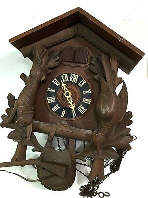 VTG Wood Black Forest German ? Carved Bird Cuckoo Clock - For Parts or Repair