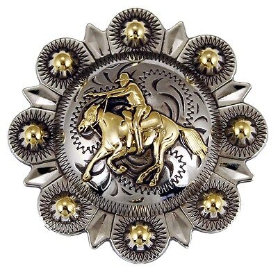 """Silver Plated, Gold Berry, Mounted Shooter Concho 2"""""""