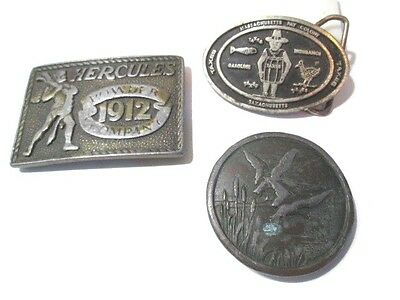 Lot Of Three Old Interesting Signed Belt Buckles Wear Resell Refinish