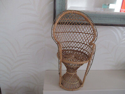 Vintage Wicker  Peacock Chair For Display Of Dolls Or Teddy Bears - 16Ins High