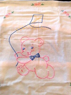 Vintage Baby Crib Sheet Embroidered Bear with Kite Blanket