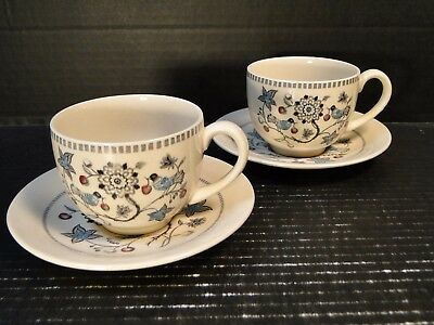 TWO Johnson Brothers Old Granite Cherry Tea Cup Saucer Sets 2 EXCELLENT