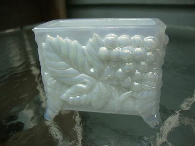 Boyd Glass Collectible Opalescent White Crystal Art Business Card Footed Box!